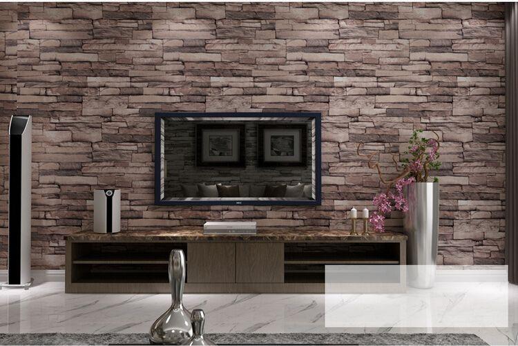 3d Wallpaper Online Shopping India Hot 3d Luxury Wood Blocks Effect Brown Stone Brick 10m