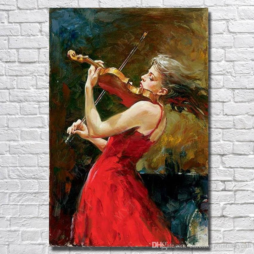 Artsy Wallpaper Modern Girl 1peices Red Dress Girl Play Violin Painting Living Room