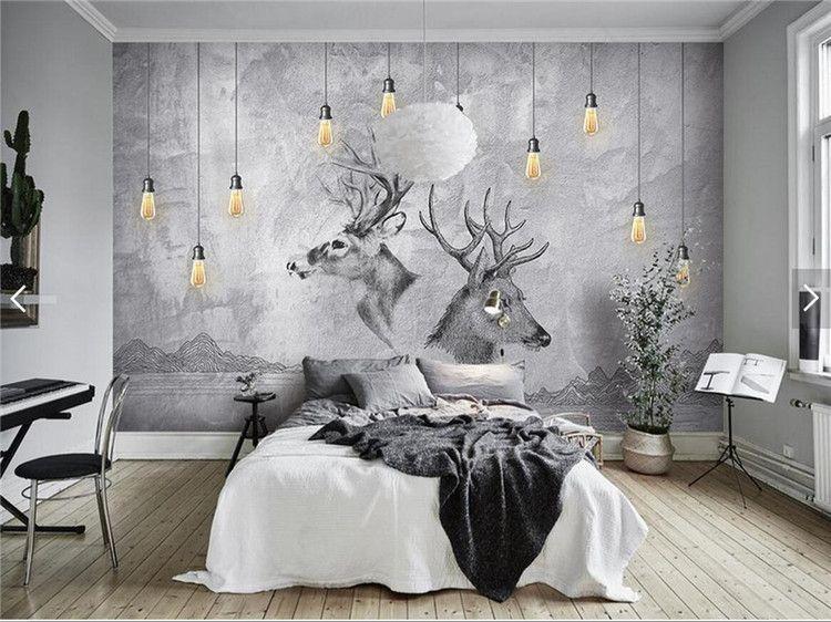 3d Wallpaper Hd For Home Wall European 3d Abstract Grey Elk Animal Photo Wallpaper Wall