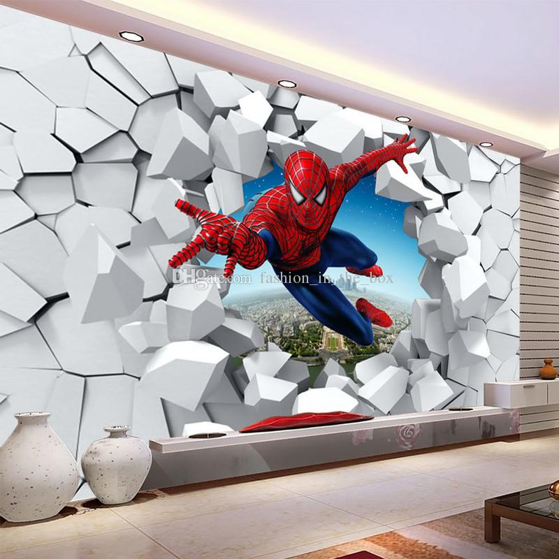 Cheap 3d Brick Wallpaper Spiderman Wallpaper Custom 3d Photo Wallpaper For Walls