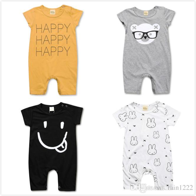 Baby Summer Bodysuits Rompers Infants Toddlers 4 Designs Short Onesies  Clothing Jumpsuits Babies Letter Bear Cotton One-piece Bodysuits