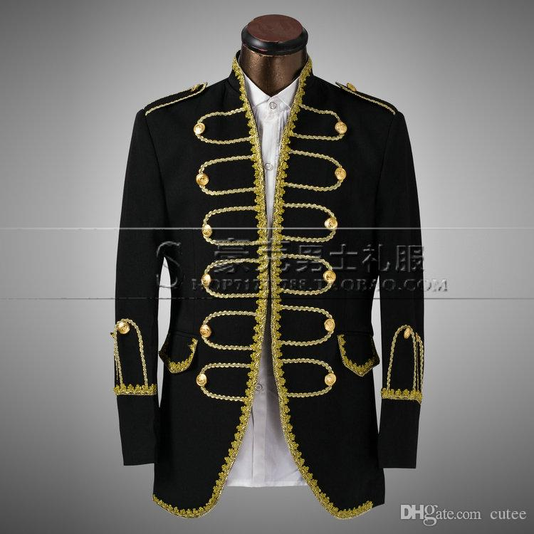 Wholesale Suppliers Dress 2019 White Gold Black Silver Men Suits Costume For Singer