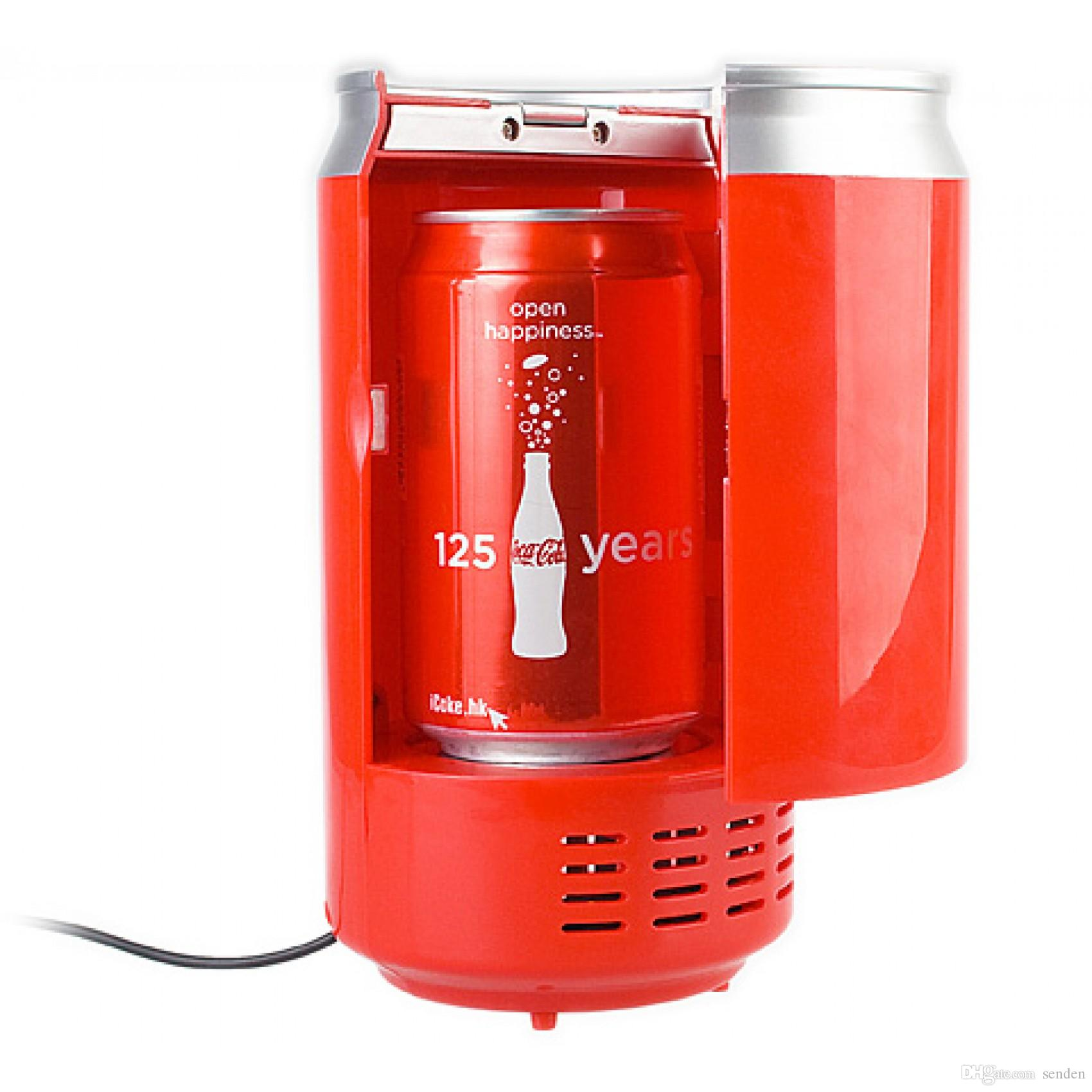 Small Portable Fridge Portable Usb Can Shaped Cooler And Warmer Mini Coke Fridge Beverage Usb Thermoelectric Chilling Milk Warming Refrigerator Home Office Gift