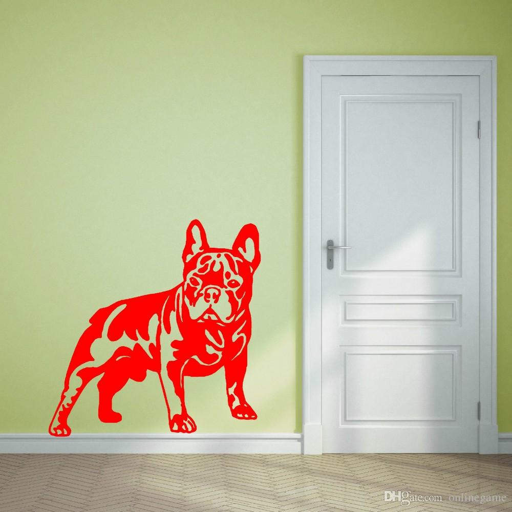 Vinyl 200 Cm Breed Cutom Color French Bulldog Dog Vinyl Wall Art Sticker Decal Living Room Sticker Muraux Animal Wallpaper Home Decor Mural 57 58 Cm