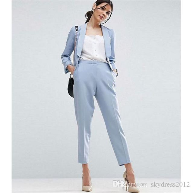 Online Cheap Women Pant Suits Light Sky Blue Work Wear For Ladies - women suits pant