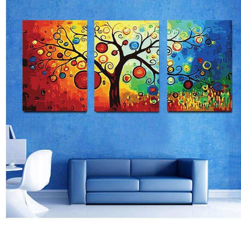 2019 Hot Sell Rich Tree Canvas Modern Triptych Wall Painting Money