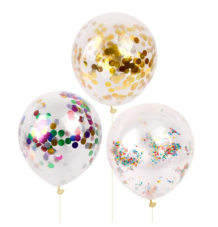 Fengrise 12inch Gold Confetti Balloon Giant Clear Birthday Balloons