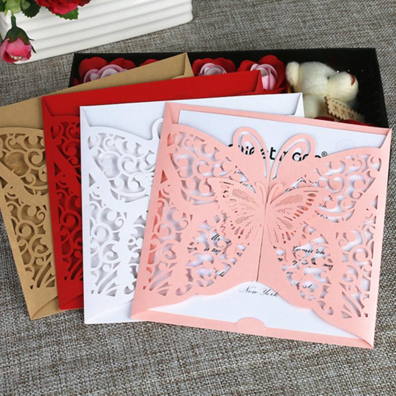 Country Butterfly Holiday Invitations Gold Red Pink Spring Summer