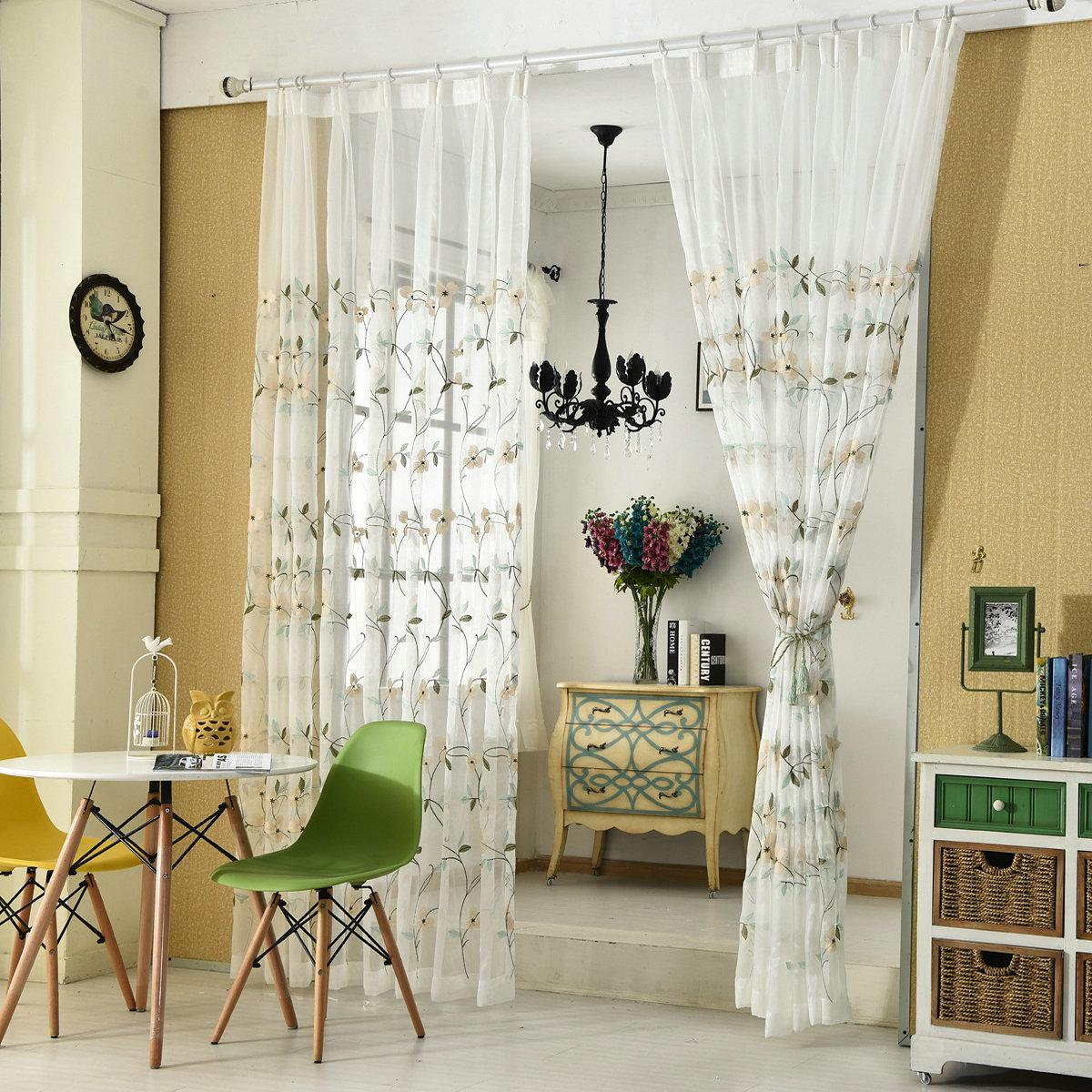 Modern Curtains For Bedroom Pastoral Tulle Curtains Embroidered Floral White Tulle Modern Curtain For Living Room Bedroom Curtains Fabric Drapes