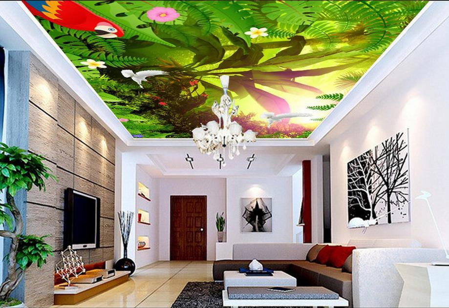 3d Stereoscopic Mural Wallpaper Modern Ceiling Wallpaper Fashion Sunshine Flower Bird