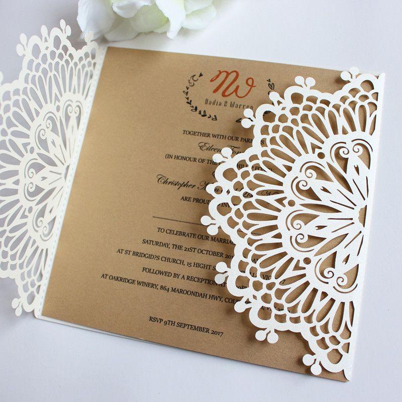 Country Wedding Invitations Lace Ribbon Bowknot Decor Wedding