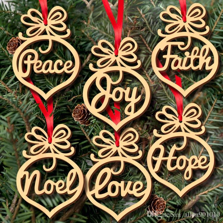New Wood Hollow Out Christmas Tree Decoration English Letters Merry - christmas tree words