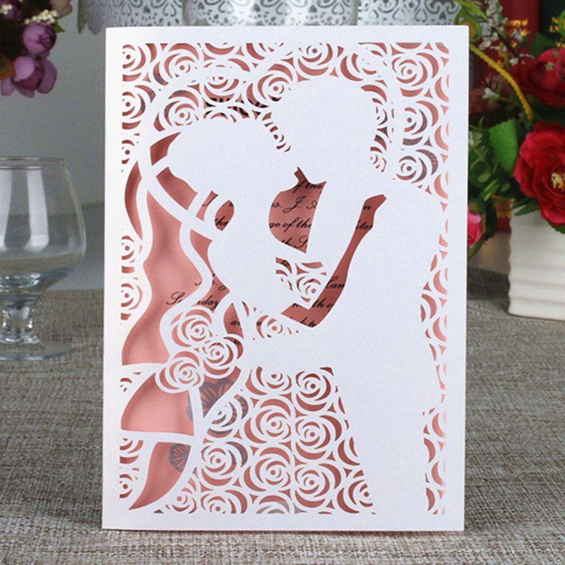 Sweet Rose Engagement Party Invitation Envelop Laser Cut Couples