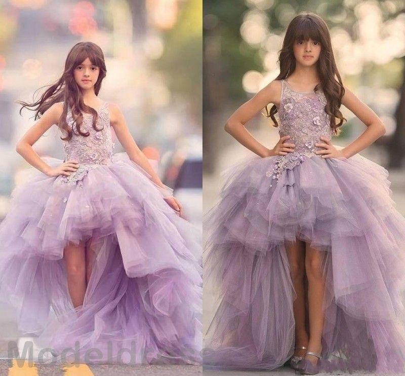 2019 Unique Design High Low Girls Pageant Dresses Jewel Lace
