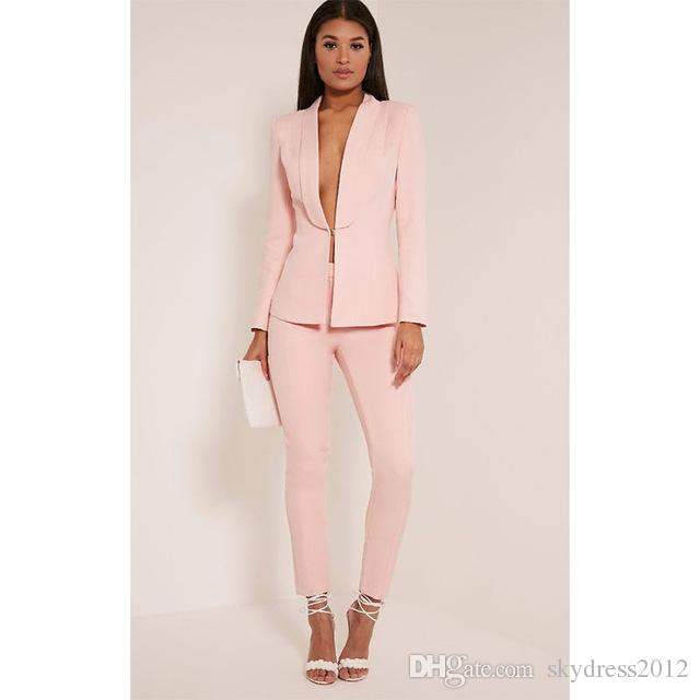 New Light Pink 2017 Fashion Womens Business Suits Ladies Elegant - women suits pant