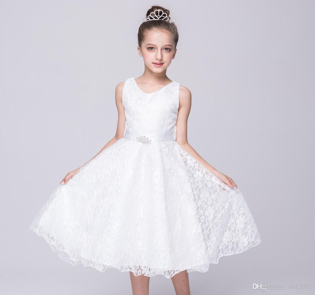 Magnificent 2018 2017 New Girls Party Wear Dress Kids Grade Lace Princess Dresschildren Wedding Party Birthday Princess Bow Dresses From 2018 2017 New Girls Party Wear Dress Kids Grade Lace Princess wedding dress White Dresses For Girls