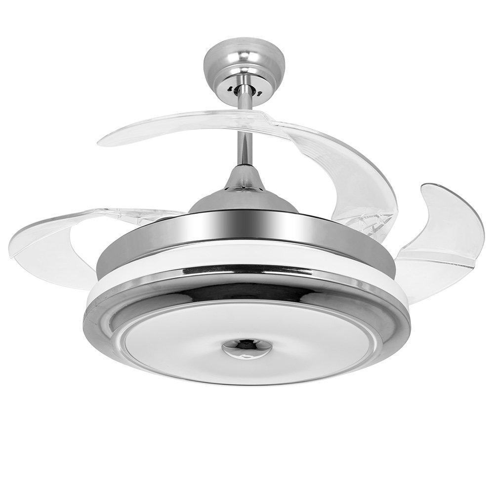 Ceiling Fan With Folding Blades Invisible Retractable Blades Chrome Ceiling Fan 42 Inch Modern Simple Fan Chandelier With Lights For Living Room Bedroom Home Ceiling Light