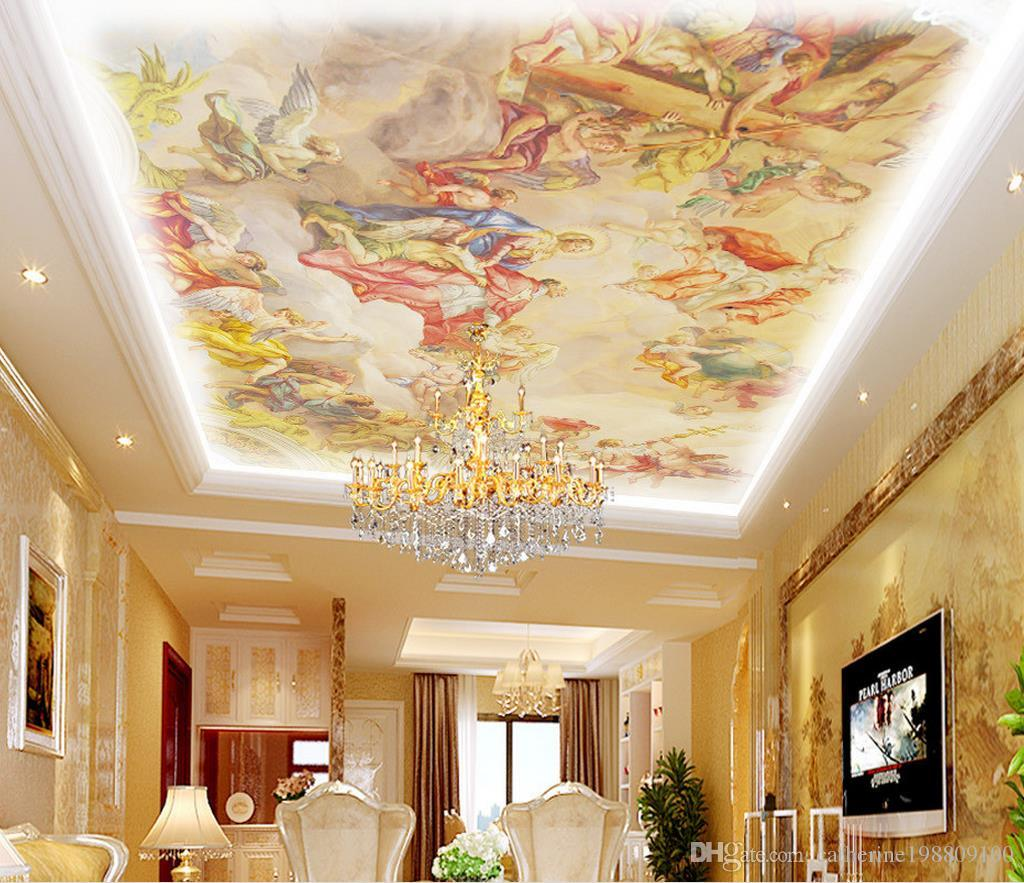 3d Stereoscopic Mural Wallpaper European Style Roof Painting Ceiling Ceiling Wallpaper