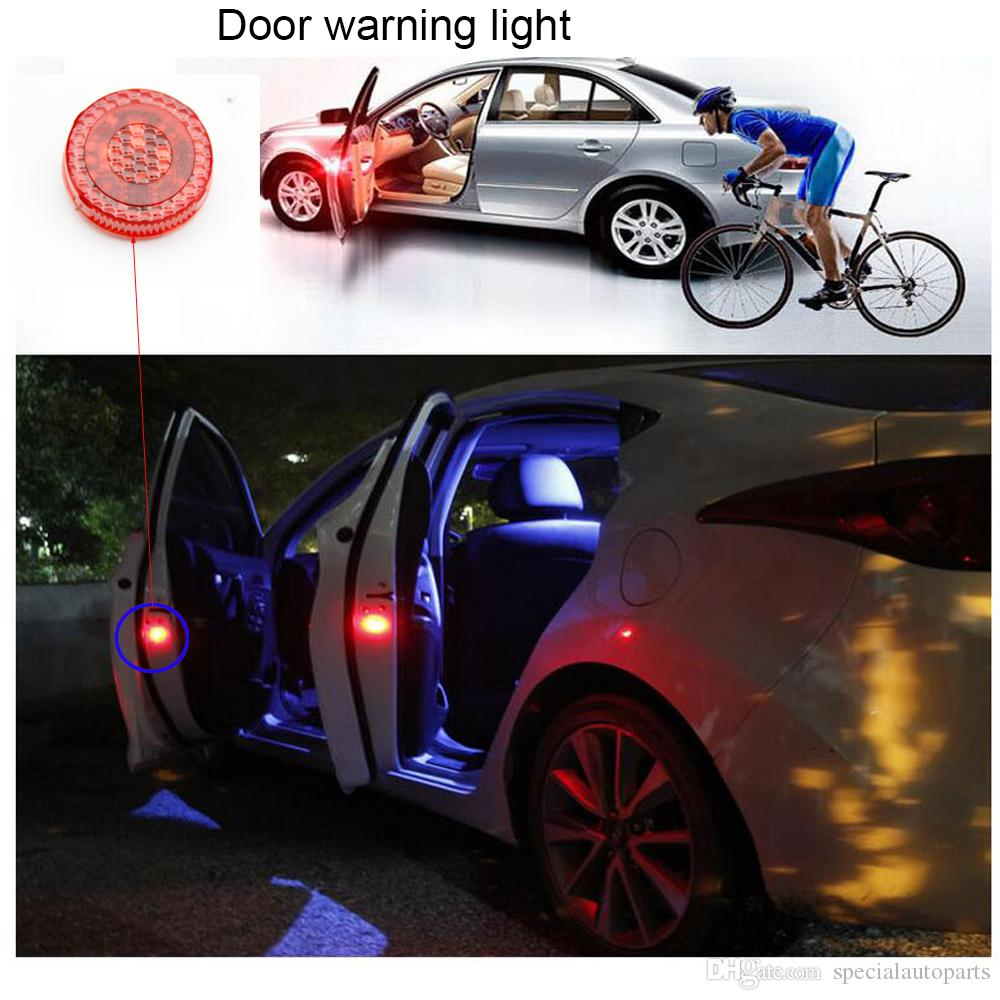 Led Lights For Trucks Universal Wireless No Damage Vehicle Truck Led Safety Light Car Door Warning Light Led Strobe Flicker For Anti Rear End Collision 2pc Set