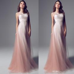 Smartly Sheer Neck Strapless Pink Ombre Sheath Prom Dresses Long Lengthchiffon Tulle Weddings Party Dresses Formal Evening Dresses Custom Formal Sheer Neck Strapless Pink Ombre Sheath Prom Dresses Lon