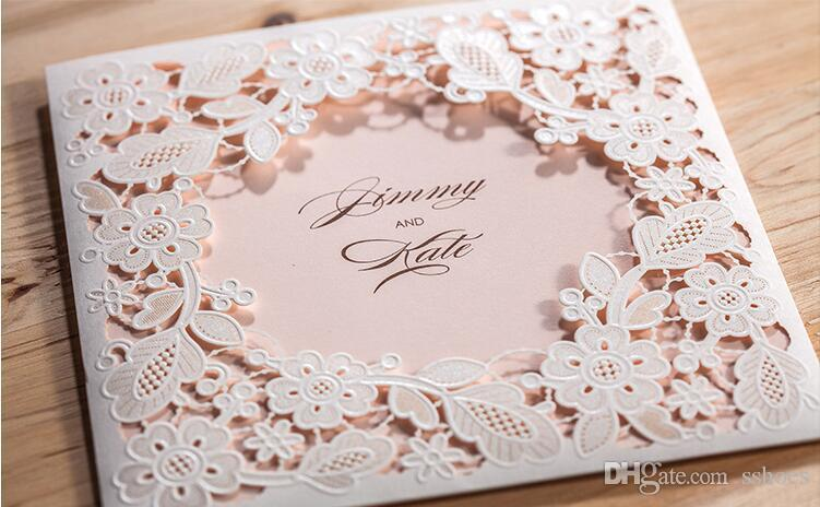 2017 Hollow White Flowers Wedding Invitations Card Free