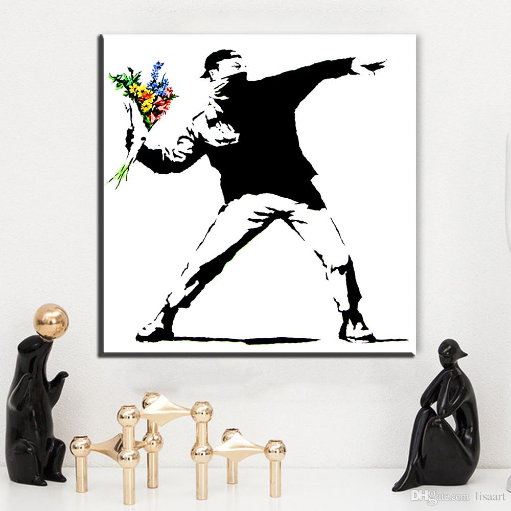Banksy Canvas Art Zz01 Graffiti Canvas Posters And Prints Art Flower Thrower Banksy Canvas Pictures Oil Art Painting For Livingroom Bedroom Decor