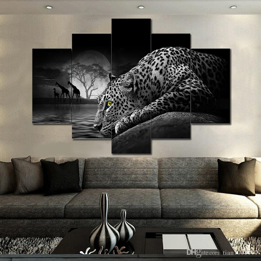 Wall Paintings For Sale Hot Sale 5 Pieces Modular Canvas Painting No Frame Leopard Printed Picture Promotional Home Wall Paintings Drop Shipping
