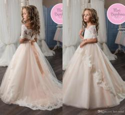 Relaxing 2017 Flower Girl Dresses Off Shoulder Short Sleeves Lace Appliqued Girlspageant Dresses Bow Ribbon Kids Formal Wear Girls Party Dresses Latestdresses 2017 Flower Girl Dresses Off Shoulder Sho