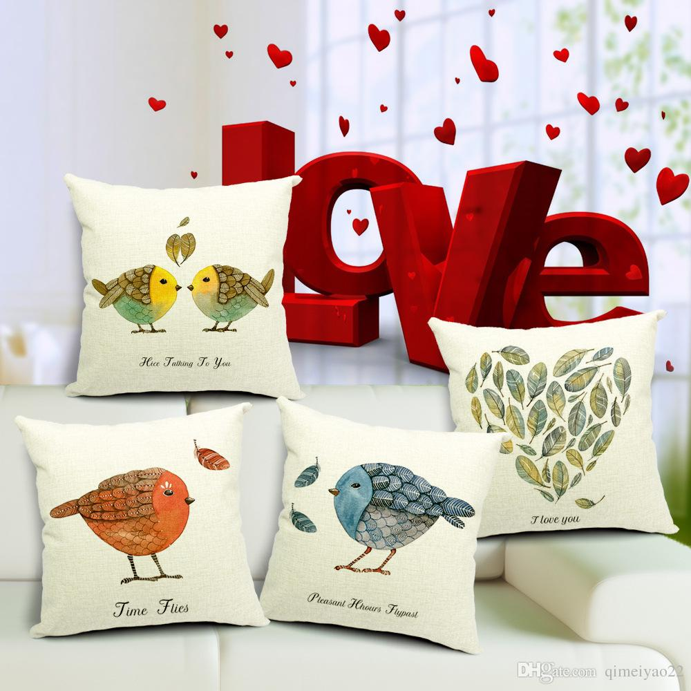 Cojines Vintage Para Sofas Nordic Vintage Bird Cushion Cover Cartoon Throw Pillow Cases Cotton Linen Pillowcase Cojines Home Decor Capa Para Almofada