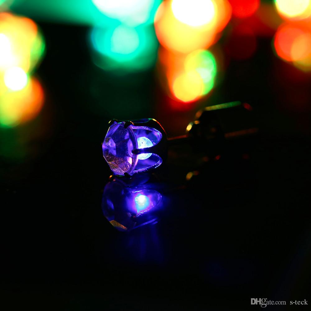 Led Earrings 1 Pair Charm Led Earring Light Up Bright Stud Earrings Luminous Crown Glowing Crystal Stainless Ear Stud For Dj Dance Party Bar