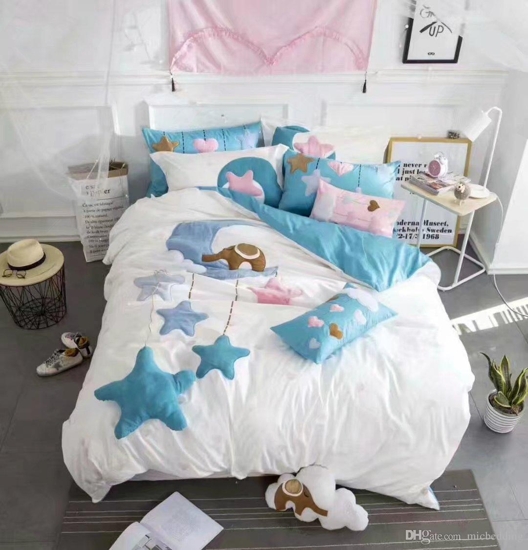 Bed Linen Star Applique Embroidery Cotton Fabric Designs Finish Bed Linen Bed Sheet Four Pieces Bedding Set Blue Red Color Luxuary Designs