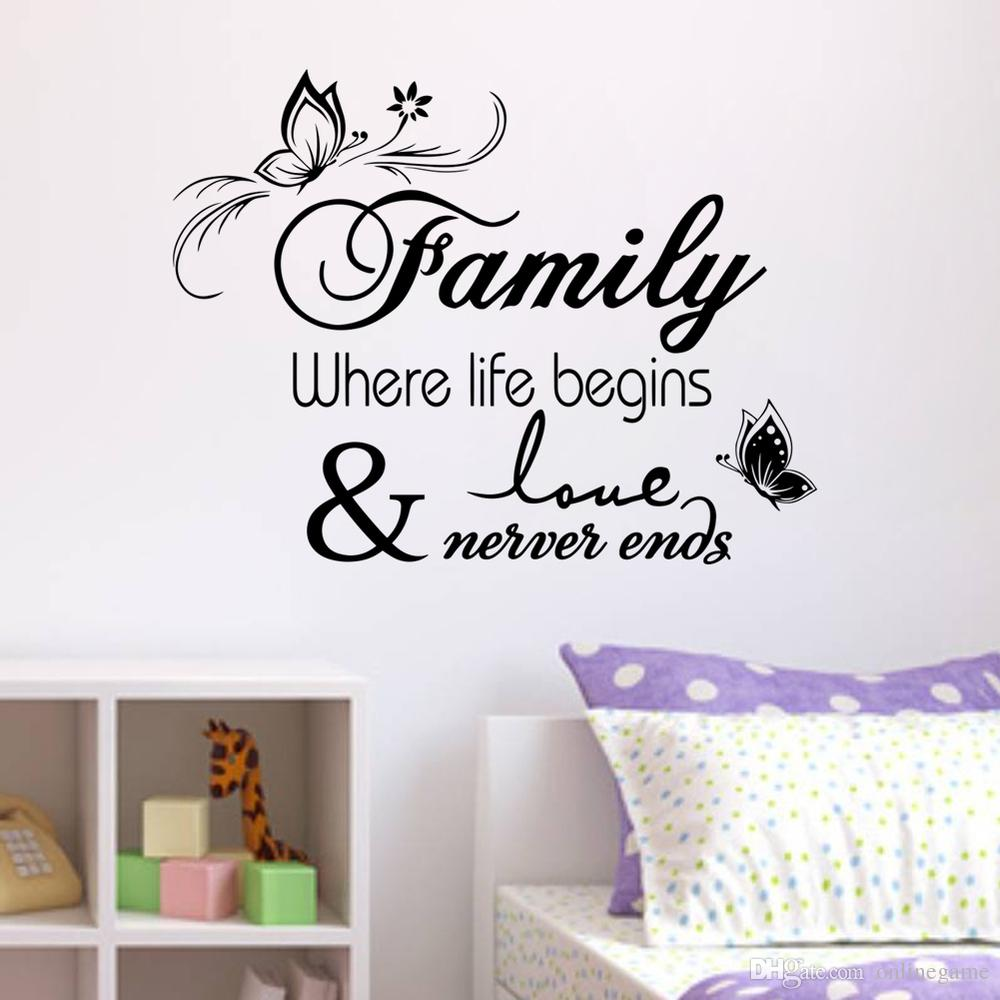 Décoration Murale Vinyle Family Home Decor Creative Quote Wall Decals Decorative Removable Vinyl Wall Sticker Office Decoration Mural Wall Quote 33 57