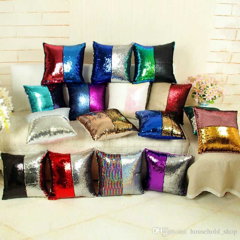 Rainbow Sequins Pillow Case Cushion Cover Christmas Gifts Pillowcase