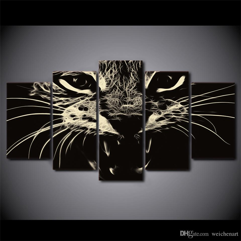 Wall Paintings For Sale 5 Pcs Set Framed Hd Printed Black White Cat Group Painting Wall Art Room Decor Print Poster Picture Canvas Free Shipping Ny 1251
