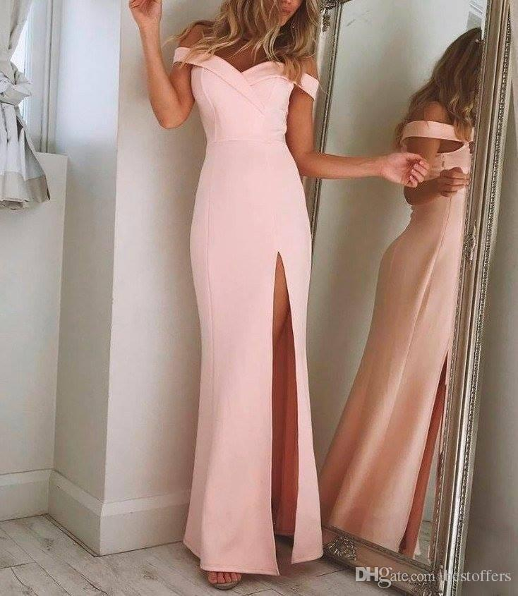Off The Shoulder Simple Elegant Prom Dresses 2018 Pink Long Pageant