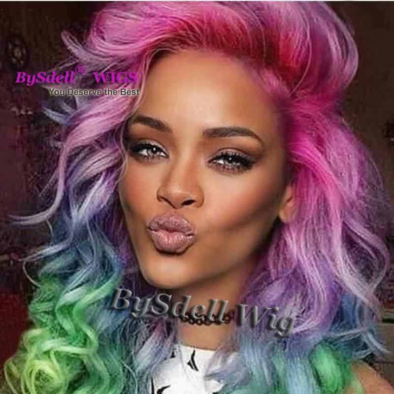 Glamor Colorful Luxury Body Wave Hair Lace Front Wig Celebrity