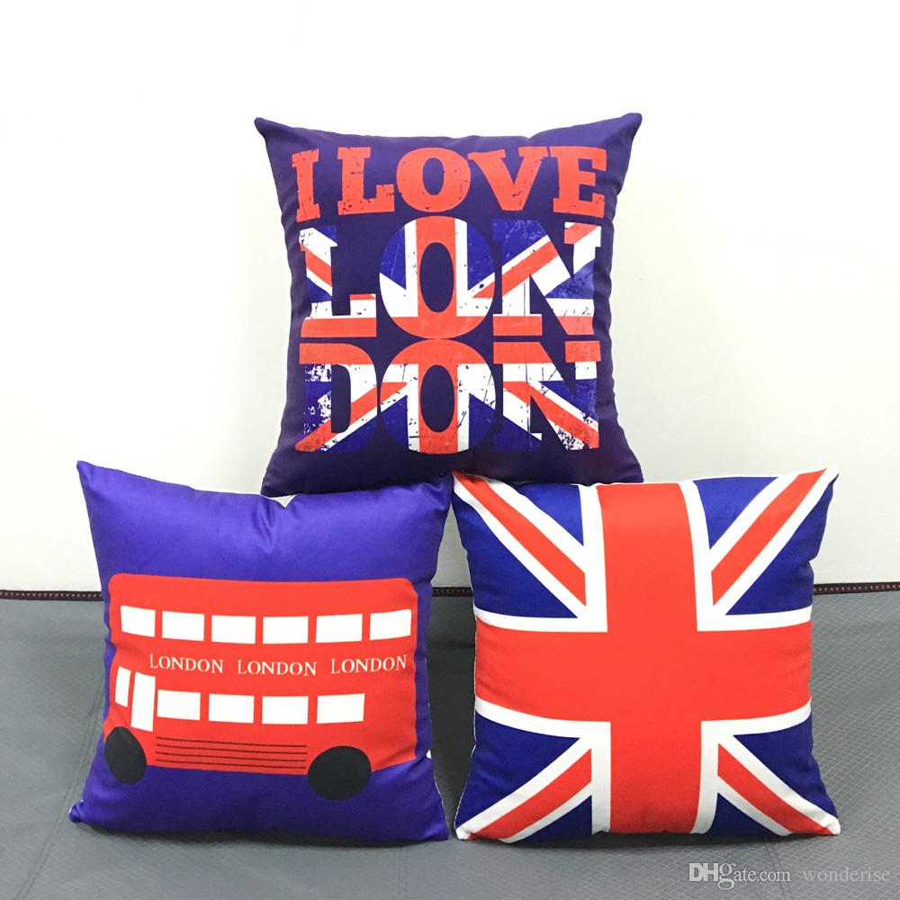 Retro Cushions British Retro Vintage Style Cushion Covers I Love London Bus Union Jack Uk Flag Pillow Cover Home Decorative Sofa Throws Soft Pillow Case