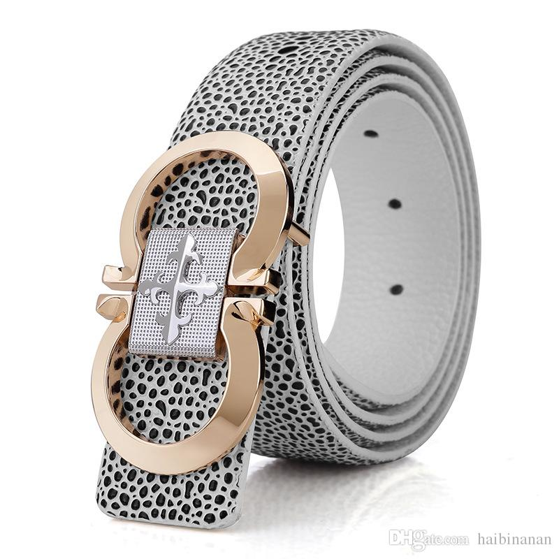 High Quality Pearl Fish Texture Real Leather Men Designer Belts