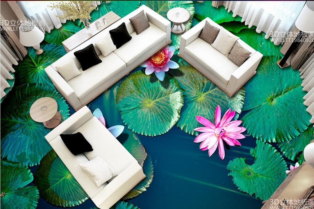 3d Floor Wallpaper Murals 3d Floor Tiles Custom Wallpapers For Living Room Lotus