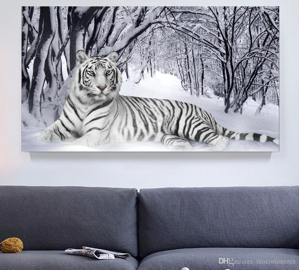 Black And White Artwork For Bedroom White Tiger Winter Landscape Giclee Print Canvas Wall Art For Home Decor Perfect 4 Panels Wall Decorations For Living Room Bedroom Office