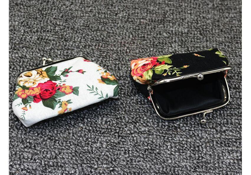 Portable Zipper Flower Coin Purse Canvas Keys Wallet