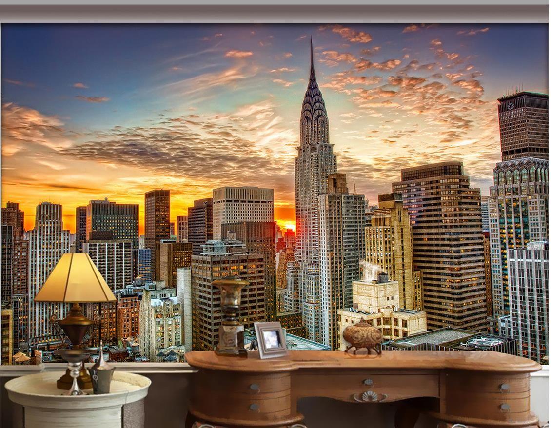 3d Urban New York Mural Wallpaper Luxury European Modern New York City Skyscraper Mural 3d