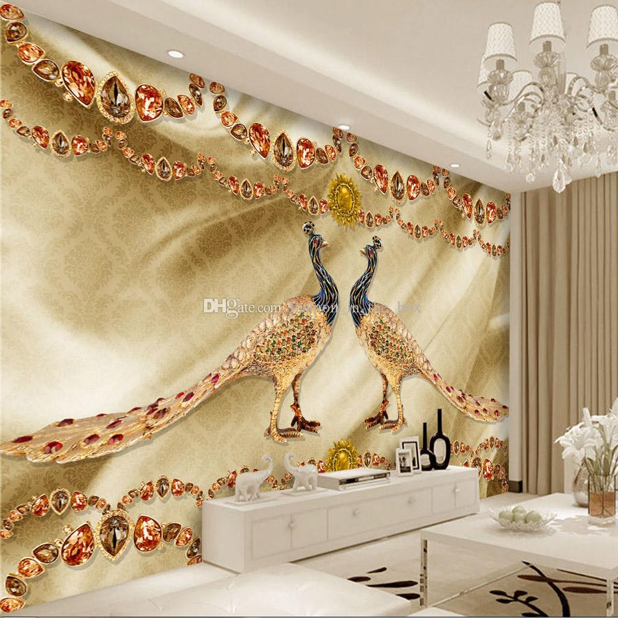 Bedroom Wall Decor Golden Peacock Jewelry Wallpaper Luxury Wall Mural Custom