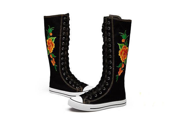 Girls39 Knee High Punk Peony Flower Embroidery Canvas Boot