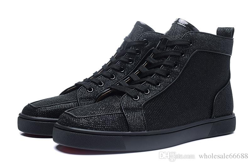 New Men Womens Black Glitter Leather Square Toe High Top
