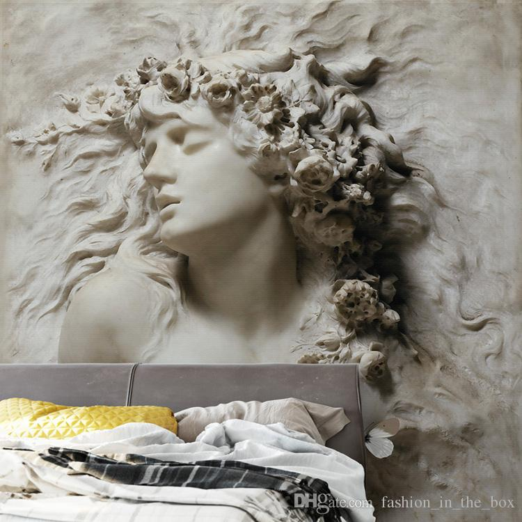 Sculpture Hd Wallpapers Custom European Wall Mural 3d Embossed Woman Wallpaper For