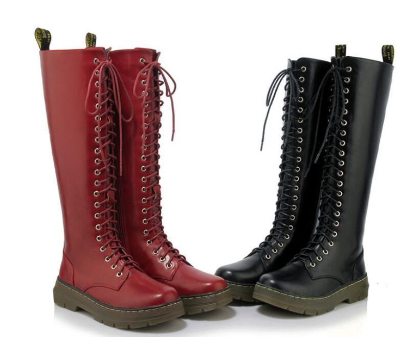Black Or Wine Red Knee High Platform Boots Punk Rock