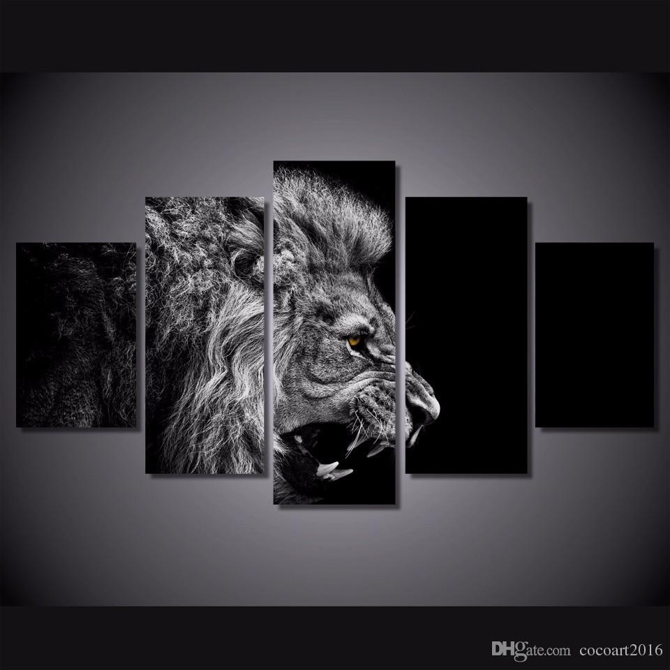 Black And White Canvas Pictures 5 Pcs Set Framed Hd Printed Black White Lion Picture Wall Art Canvas Room Decor Poster Canvas Modern Oil Painting