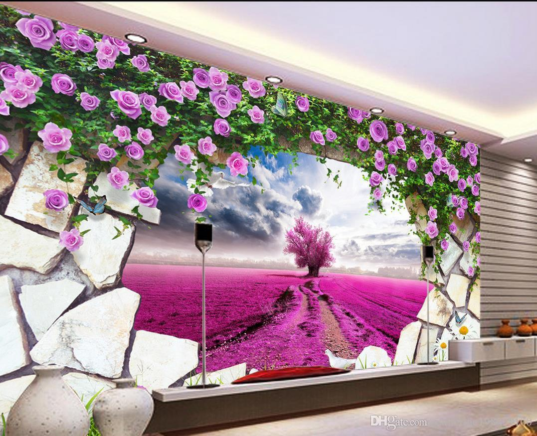 Pink Tv Online Dream Lavender Yellow Flower Purple Pink Tv Background Wall Mural 3d Wallpaper 3d Wall Papers For Tv Backdrop