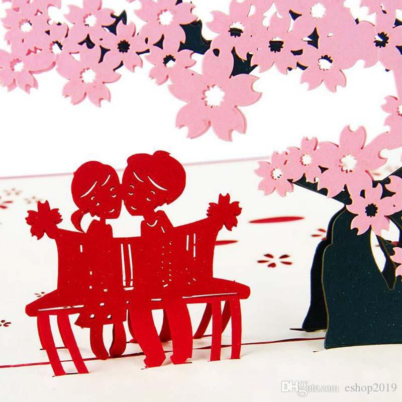 Laser Cut Wedding Invitations Korean Cherry Fantasy 3D Card Handmade